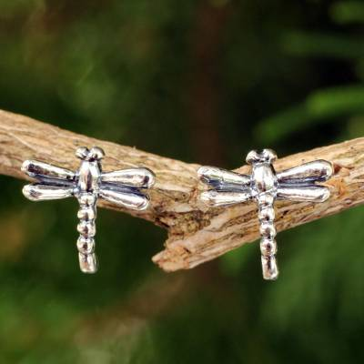 Sterling silver button earrings, 'Baby Dragonfly' - Silver Button Earrings
