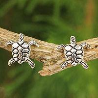 Sterling silver button earrings, 'Happy Turtles'