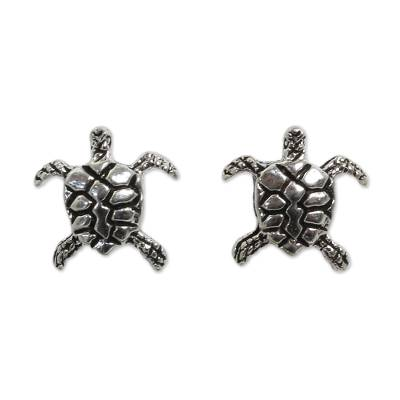 Handcrafted Sterling Silver Turtle Button Earring from Novica