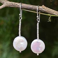 Cultured pearl dangle earrings, 'Mystic Moons' - Artisan Crafted Biwa Pearl Earrings