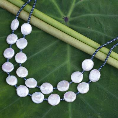 Cultured pearl statement necklace, 'Lunar Horizon' - White and grey Pearl Handcrafted Necklace