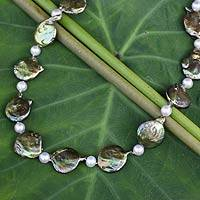 Cultured pearl necklace, 'Exotic Forest' - Fair Trade Jewelry Green and Gray Pearl Necklace