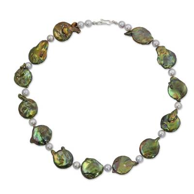 Fair Trade Jewelry Green and Gray Pearl Necklace