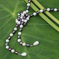 Cultured pearl strand necklace, 'Iridescent Versatility' - Hand-knotted Long Pearl Strand Necklace in White and Grey