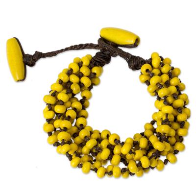 Wood Beaded Jewelry Yellow Torsade Bracelet