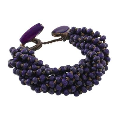 Wood beaded torsade bracelet, 'Nan Belle' - Purple Torsade Bracelet Wood Beaded Jewelry
