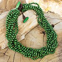 Wood torsade necklace, 'Khao Luang Belle'