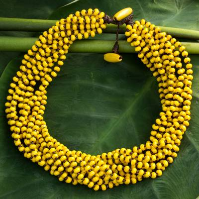Wood torsade necklace, 'Phrae Belle' - Wood Beaded jewellery Yellow Torsade Necklace