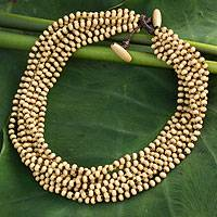 Wood torsade necklace, 'Natural Belle'