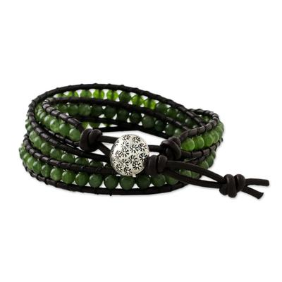 Quartz wrap bracelet, 'Thai Fields' - Green Quartz Wrap Bracelet with Silver Hill Tribe Button