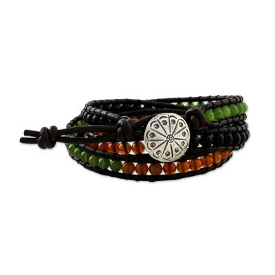 Carnelian and onyx wrap bracelet, 'Contrasts' - Multigem Handcrafted Bracelet with Hill Tribe Silver Button