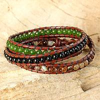 Onyx and agate wrap bracelet, 'Florid Contrasts' - Artisan Crafted Multi Gemstone Wrap Bracelet