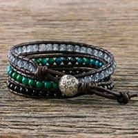 Onyx and serpentine wrap bracelet, 'Rhythm of the Season' - Thai Handcrafted Multi Gemstone and Silver Wrap Bracelet