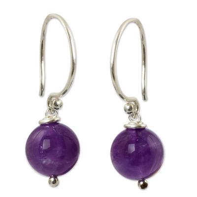 Amethyst dangle earrings, 'Mystical Me' - Handmade Amethyst and Sterling Silver Earrings