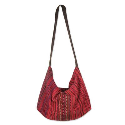 Cotton hobo handbag, 'Scarlet Passion' - Handwoven Red Cotton Hobo Bag with Zippered Closure and Inte