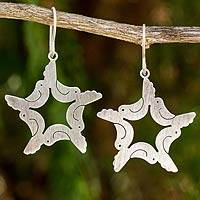Sterling silver dangle earrings, 'Peace and Hope' - Sterling Silver Doves and Stars Earrings