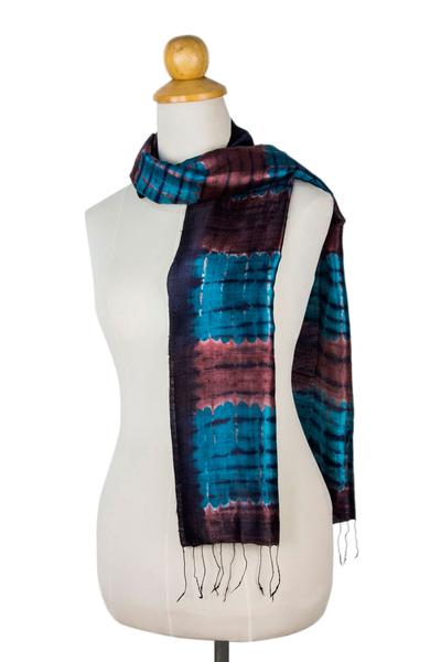 Silk scarf, 'Blue Thai Sky' - Unique Tie Dyed Silk Scarf