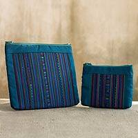 Cotton blend cosmetic bags, 'Lisu Rainforest' (pair)