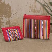 Cotton blend cosmetic bags, 'Lisu Fire' (pair) - Cotton Blend Cosmetic Bags with Hill Tribe Applique (pair)
