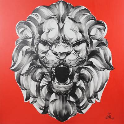 'Lion's Roar' - Black and White Thai Lion Portrait