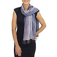 Silk scarf, 'Gray Transitions'