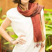 Silk scarf, 'Golden Brown Transition' - Hand-dyed Silk Scarf from Thailand
