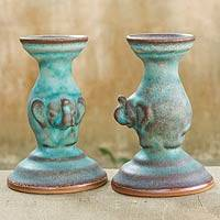 Ceramic candleholders, 'Elephant Pillars' (pair) - Turquoise Color Ceramic Candleholders