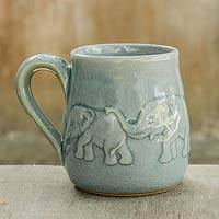 Celadon ceramic mug, 'Light Blue Elephant Parade' - Ceramic Elephant Mug