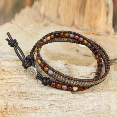 Jasper wrap bracelet, 'Glowing Earth' - Hand Made Jasper Wrap Bracelet with Hill Tribe Silver