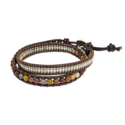 Hand Made Jasper Wrap Bracelet with Hill Tribe Silver