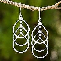 Sterling silver dangle earrings, 'Perpetual Cascade'