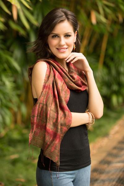 Silk scarf, 'Siam Adventure' - Hand-spun Silk Tie Dye Scarf