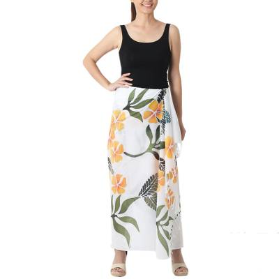 Cotton batik sarong, 'Tropical Plumeria' - Hand-painted Cotton Batik Sarong
