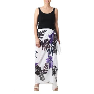 Cotton batik sarong, 'Tropical Cattleya' - Hand-painted Cotton Batik Sarong