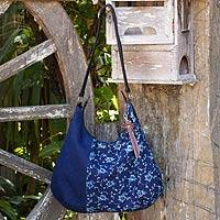 Leather accent cotton hobo handbag, 'Sea of Flowers'