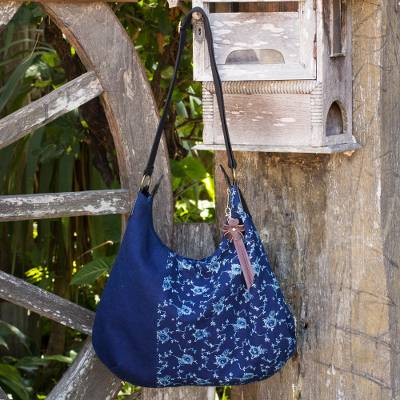 Leather accent cotton hobo handbag, 'Sea of Flowers' - Fair Trade Leather Accent Blue Cotton Hobo Bag
