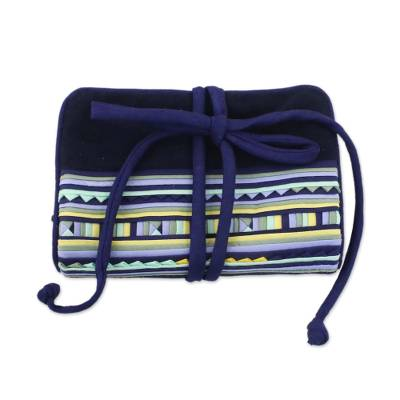 Applique jewelry roll, 'Lisu Cobalt Fantasy' - Fair Trade Hill Tribe Applique Jewelry Roll