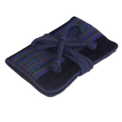 Applique jewelry roll, 'Lisu Sapphire Fantasy' - Artisan Crafted Hill Tribe Applique Jewelry Roll