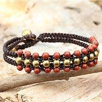 Jasper wristband bracelet, 'Crimson Joy' - Red Jasper and Brass Wristband Bracelet