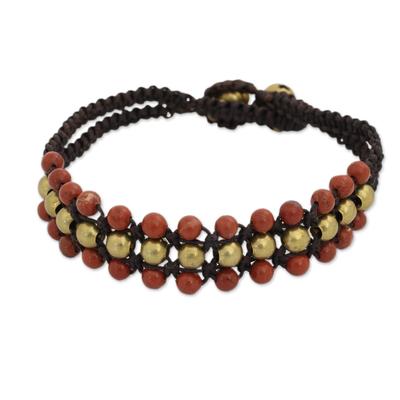 Red Jasper and Brass Wristband Bracelet