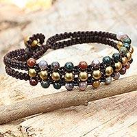 Jasper wristband bracelet, 'Colors of Joy' - Thai Handcrafted Jasper and Brass Beaded Wristband