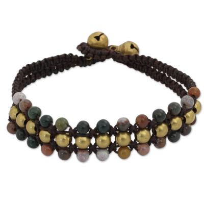Jasper wristband bracelet, 'Colors of Joy' - Jasper and Brass Wristband Bracelet