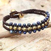 Lapis lazuli wristband bracelet, 'Blue Joy' - Artisan-Made Wristband of Lapis Lazuli and Brass