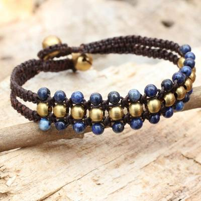 Lapis lazuli wristband bracelet, 'Blue Joy' - Lapis Lazuli and Brass Wristband Bracelet