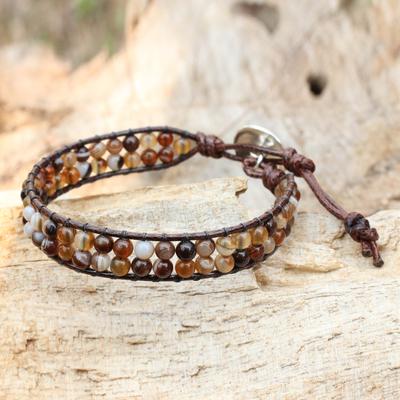 Agate wristband bracelet, 'Couple in Love' - Thai Beaded Agate Wristband Bracelet