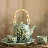 Celadon ceramic tea set 'Inspiration' (set for 2) - Ceramic Leaf and Tree Tea Service from Thailand