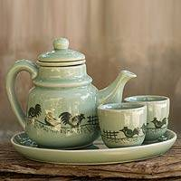 Celadon ceramic tea set, 'Cute Chicks' - Green Thai Celadon Ceramic Tea Set for Two