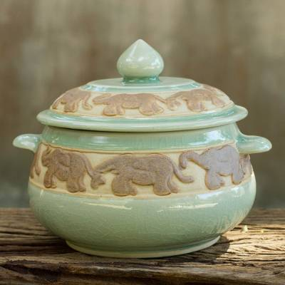 Celadon ceramic covered bowl, 'Green Elephant Walk' - Handcrafted Green Celadon Covered Bowl from Thailand