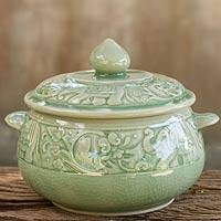 Celadon ceramic covered bowl, 'Green Elephant Forest' - Crackled Green Thai Celadon Covered Bowl with Elephants