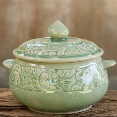Celadon ceramic covered bowl, Green Elephant Forest